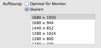 Mac OS X Bildschirmauflösung